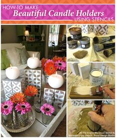How-to Make Beautiful Candle Holders Using Stencils | Paint + Pattern