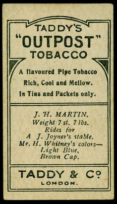 "Cigarette Card Back - Taddy's ""Outpost"" 