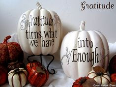 Painted white GRATITUDE pumpkins