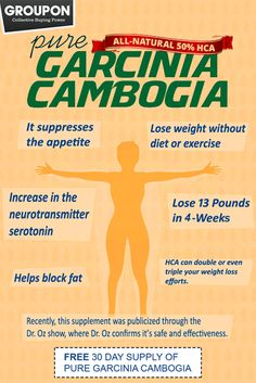 For those of you trying to shave off a few pounds, here is a free offer of pure garcinia cambogia, according to groupon this stuff is really good to stay healthy!