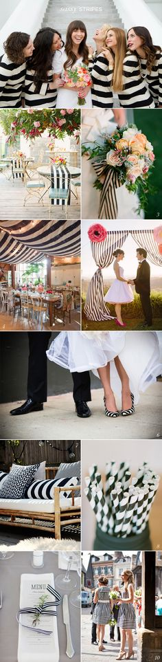 Black White Stripe Wedding Ideas. Aside from the fact that the bridesmaids at the top look like jail birds, this is cute!
