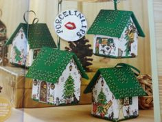 From Cross Stitch Gold magazine.  3D Pantomime Houses Christmas tree Ornament designs x 4 by Meg Evershed with usage of seed beads, metallic thread & gold star sequins in designs.  Designs are Goldilocks and the 3 bears House, Cinderella House, Jack & the Beanstalk House and Little Red Riding Hood House, really lovely designs!