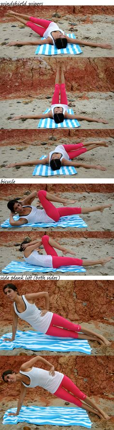 12-minute ab workout:  12 minutes long and consists of only three moves. Simple, but challenging. Set an interval timer for 12 rounds of 50 seconds of work and 10 seconds of rest. You'll go through the following sequence three times. wonder if people on the beach will think im weird doing this