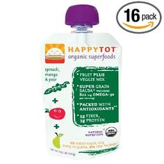 HAPPYBABY Happy Tot - Spinach, Mango and Pear, Stage 4, 4.22 Ounce Pouch (Pack of 16)