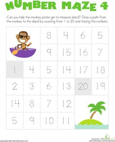Worksheets: Number Maze: Monkey Pirate