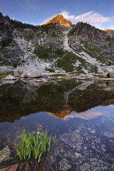 Trinity Alps Wilderness -- Upper Canyon Creek Lake and Sawtooth Mountain in the Trinity Alps. (Photo by Jeff Lang, via Flickr Creative Commons)  Northern California USA
