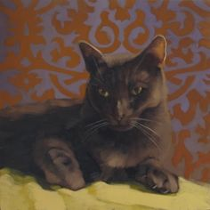 Panther Coco a cat painting by Hoeptner, painting by artist Diane Hoeptner