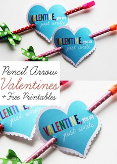 "Pencil Arrow Valentines with Free Printables - ""Valentine, you are just write."" So cute!"