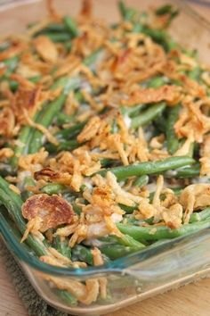 Classic Green Bean Casserole with FRESH Green Beans - so much better than canned. Adjust servings to 18+ (Hint: Extra French Fried Onions)