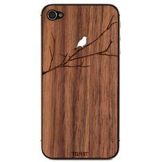 Wooden Bird on Branch iPhone Veneer
