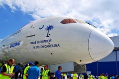 """Congratulations to the """"The Remarkables""""! Made with Pride in South Carolina    Boeing unveils first South Carolina made Boeing 787 """"Dreamliner""""    City of North Charleston City of Charleston Boeing 787 Dreamliner Boeing Charleston Factory Air India"""