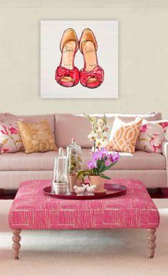 bachelorette pad, coffee tables, living rooms, canvas prints, color, shoe art, girl cave, pink shoes, the bachelorette