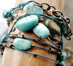 Turquoise Leather Wrap Beaded Bracelet  on Teal Leather by HBMUSE