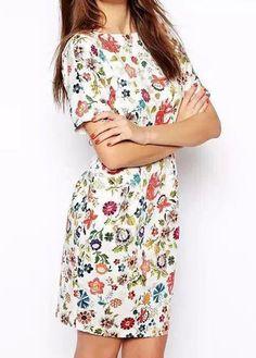Fabulous Short Sleeve Open Back Flower Print Mini Dress   Rosewe.com