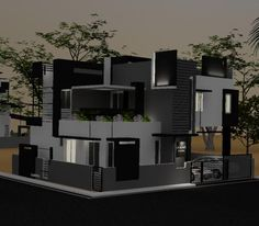 Evening view of Front Elevation for Murali's Independent Bungalow by Ashwin Architects in Bangalore.    Call (+91)-(80)-26612520 for more information.