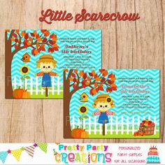 LITTLE SCARECROW birthday invitation   You by PrettyPartyCreations