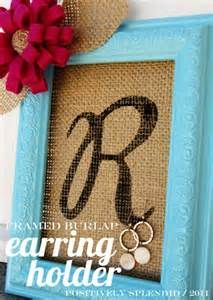 burlap, earring holders, gift ideas, monogram, craft projects, picture frames, christma, jewelry holder, diy earrings