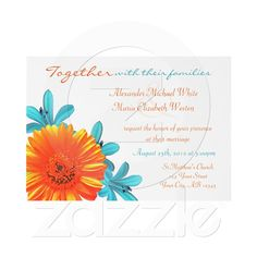 Orange  Teal Summer Flower Wedding Invitations from Zazzle.com