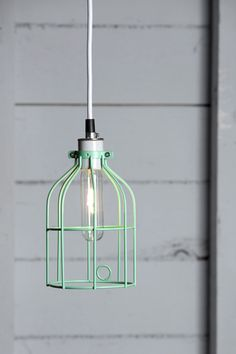 Industrial Lighting. Mint Green Wire Cage Light.