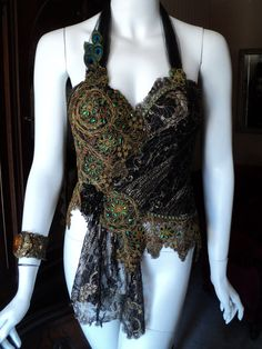 Victorian Art Deco Jewel Beetle Wing Metallic Lace by Bellasoiree, $925.00