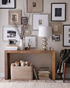 Glam photo wall // Subtle Pattern: Source of the west elm Herringbone Wallpaper