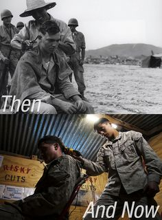 Uniforms and battlegrounds may change, but Marines remain the same breed. (Photos courtesy of Marine Corps Archives and Special Collections and Cpl. Alejandro Pena) - MilitaryAvenue.com