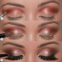 Lovely copper, coral and champagne smokey eye