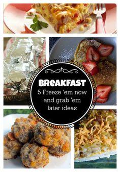5 Freeze 'em Now and Grab 'em Later Breakfasts! http://bit.ly/1gDxO0s freezer cook, freez em, grab em, breakfast option, freezer meal