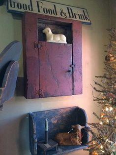 Primitive Cupboard And Shelf...