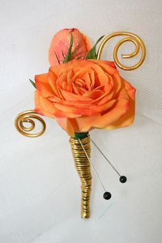 Orange Rose Boutonniere with Gold Wire - How pretty!