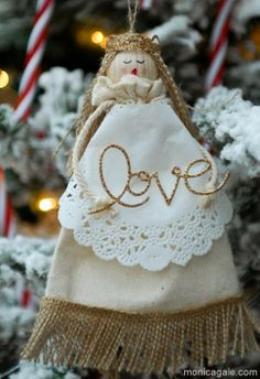 Angel made with Stampin'Up! muslin bags and burlap