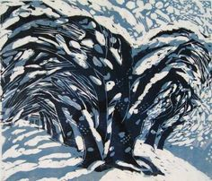 Naoko Matsubara 松原 直子 (Japan b. 1937)  Lakeside Winter (1999)   woodblock print