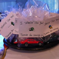 Race car party favors - CUTE for Valentines too.