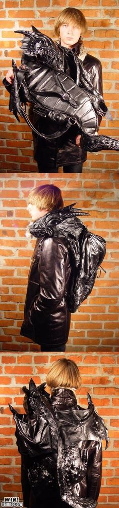 dragon backpack, awesom thing, artists, backpacks, style, stuff, kids bags, leather, art pieces