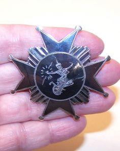 1950s STERLING SILVER & Niello Pin.Brooch from Siam - Maltese Cross.... $35.00, via Etsy.