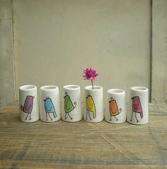 SALE rainbow bird bud vases set of 6 Valentine's by catherinereece, $44.00