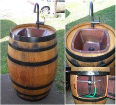 DIY Turn a Wine Barrel into an Outdoor Sink