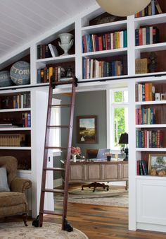 Oh there's a ladder! ladder, wall spaces, living rooms, dream, the office, bookcas, hous, vaulted ceilings, home offices