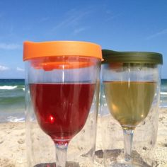 The Wine Sippy Cup??  If you can over that feeling of being a toddler, it might just be worth it to keep sand out of your wine at the beach...