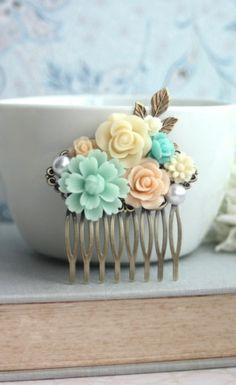 Mint, Peach, AquaFlower Collage Hair Comb. Mint Wedding. Peach Wedding Ideas By Marolsha.