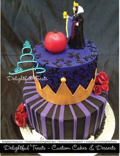 Disney Villain Black & Purple Evil Queen Cake with Red Roses & Snow White Apple by Delightful Treats.