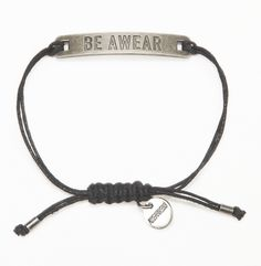 """Be Awear"" Plated Bracelet with Pewter Plate - Kenneth Cole"