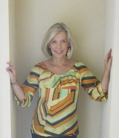 Peasant blouse made with brightly colored silk habotai fabric from Mood Fabrics. #moodfabrics