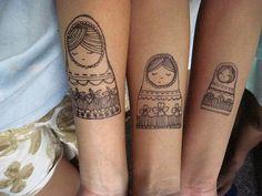 tattoo idea, matryoshka, doll tattoo, match tattoo, art, russian doll, sister tattoos, tatoo, ink