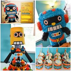 CUTE Robot Themed Birthday Party with Lots of Fun Ideas via Kara's Party Ideas | KarasPartyIdeas.com #Robots #Party #Ideas #Supplies #robotparty #cake