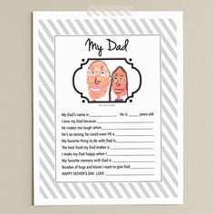 Fill out and give to Dad on Father's Day