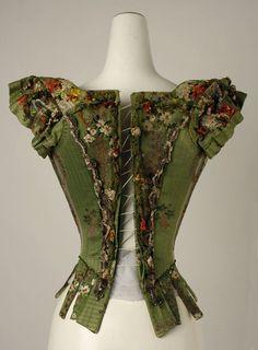 Bodice (european), 18th century (back) Medium: silk, metal thread