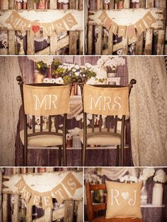 chair covers, burlap wedding banner, chairs, buntings, dinner ideas, shower, wedding banners, rustic decorations, evenings