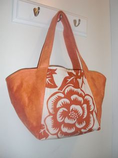 Stella bag  orange aviary print by ellenadair on Etsy, $40.00