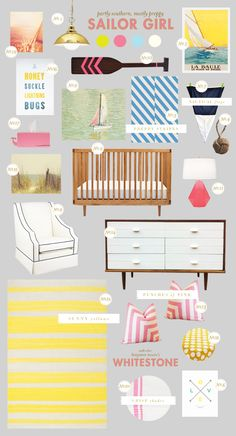 love this nautical nursery from Lay Baby Lay: sailor girl ... could definitely pull some elements for the girls' room ...